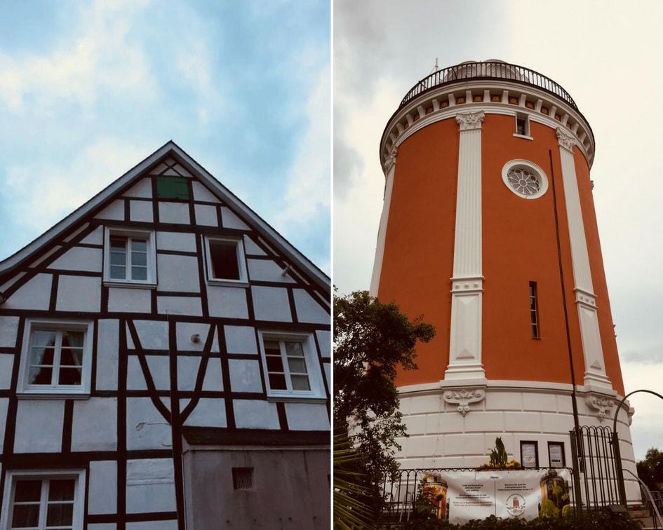 Vakwerk en de prachtige Elisentoren, die je ook kunt beklimmen in de Hardt in Wuppertal.