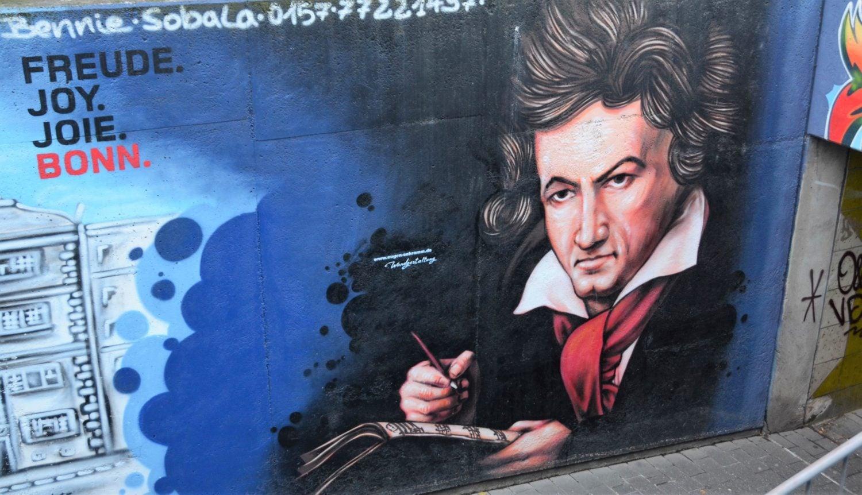 Van Beethoven ook als graffiti in een tunnel in Bonn