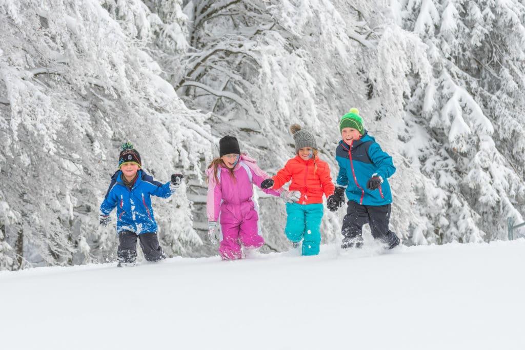 Kinderen in de sneeuw op de Feldberg de hoogste van het Zwarte Woud