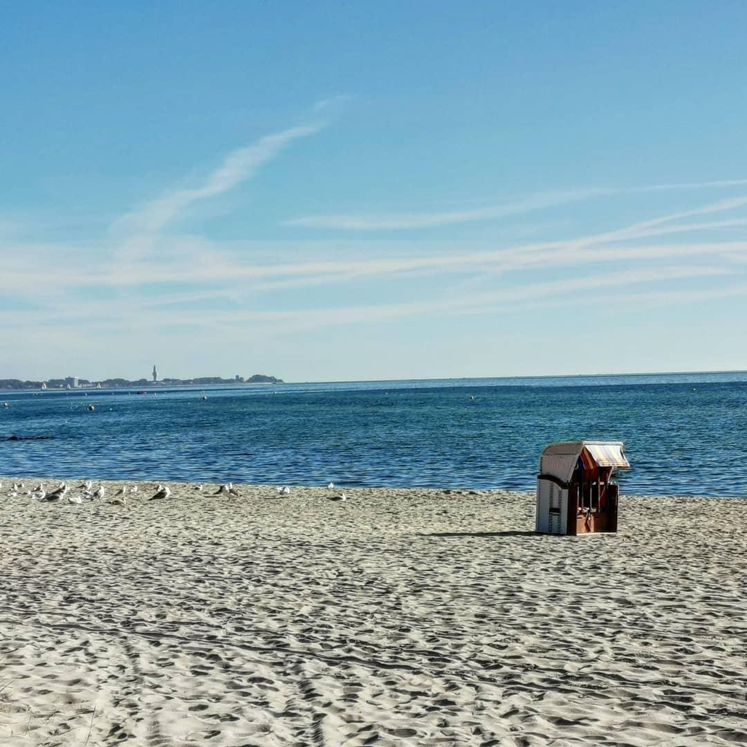 Strandkorf op het strand van Usedom