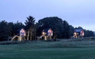 Drie boomhuizen van Hotel Lütetsburg Lodges in Nedersaksen met avondstemming