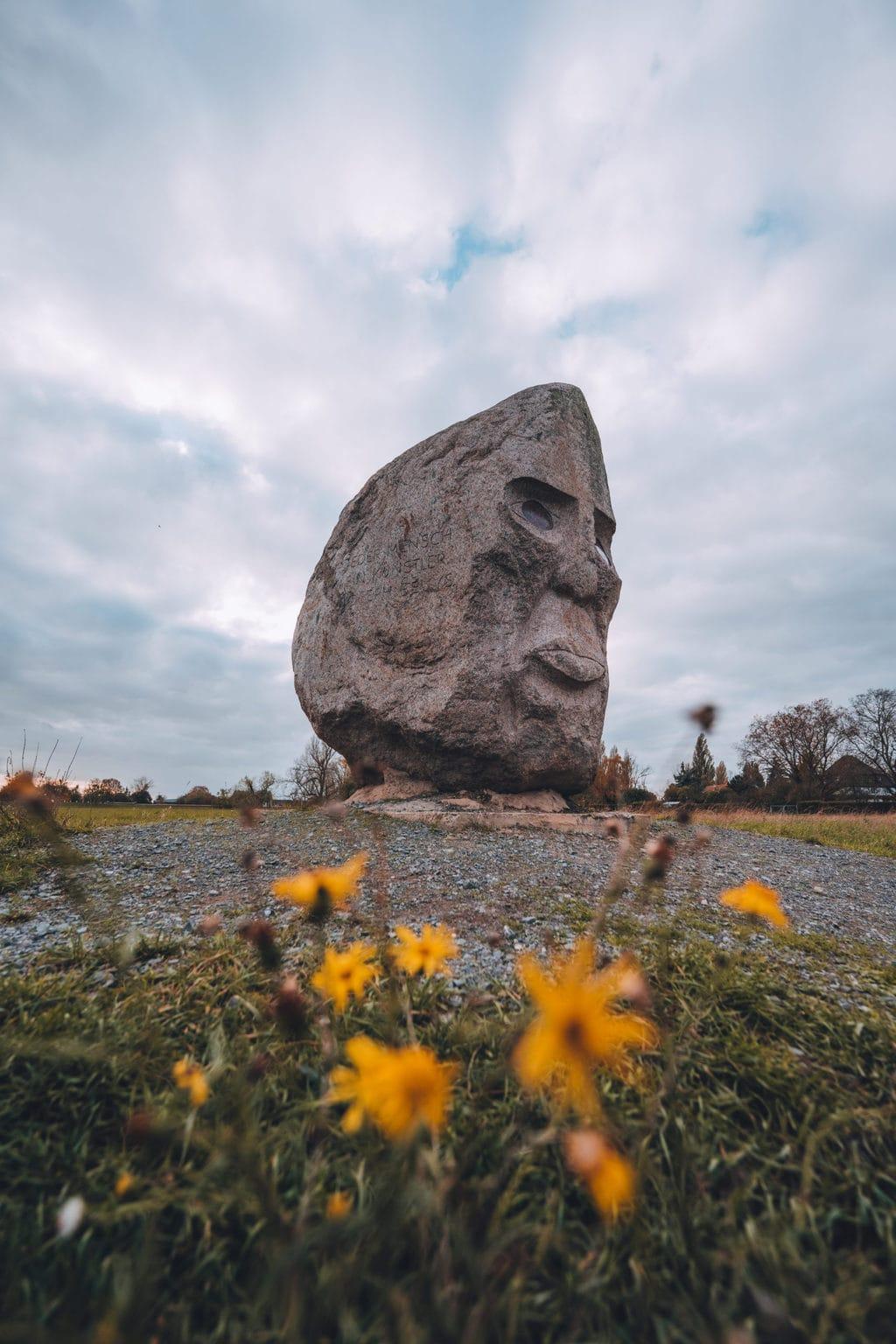Groot hoofs sculptuur van Joseph Beuys in Meerbusch in Noordrijn-Westfalen