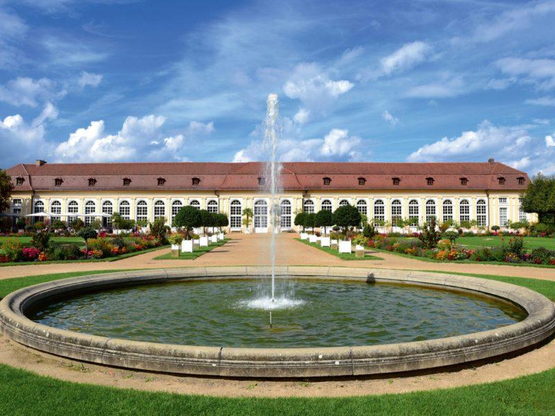 Fontein en tuin in Ansbach in Beieren