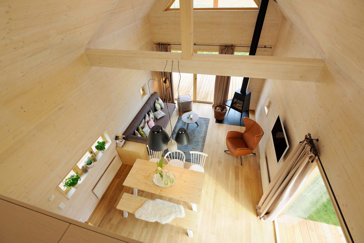 Natuurhuisje in Thüringen kompleet van hout gemaakt van boven