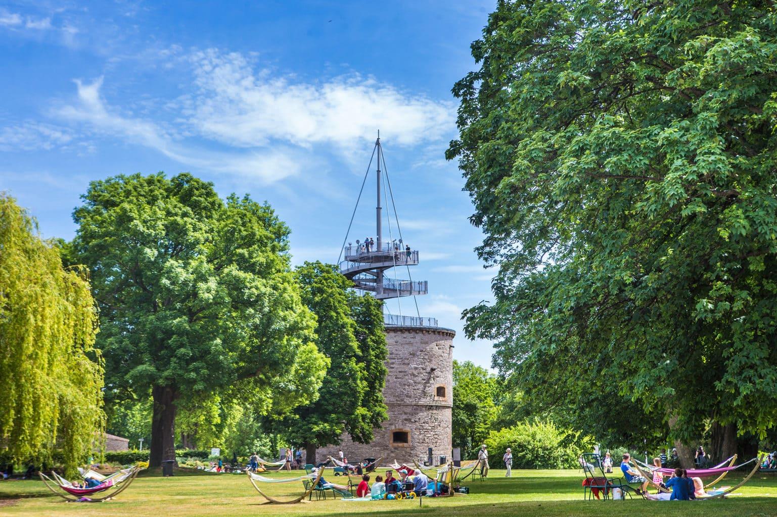 Uitzichttoren bij de Bundesgartenschau in Erfurt