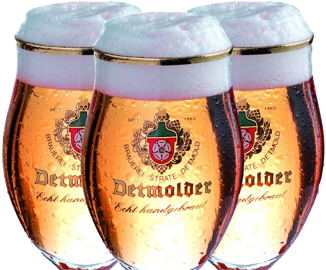 Drei glazen met vers getapt pils van Detmolder