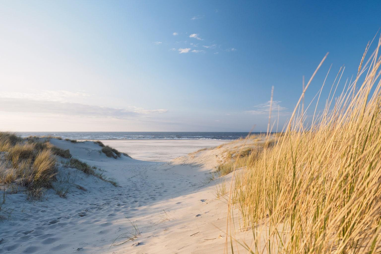Duinen aan de Duitse noordzeekust met de zee in de verte