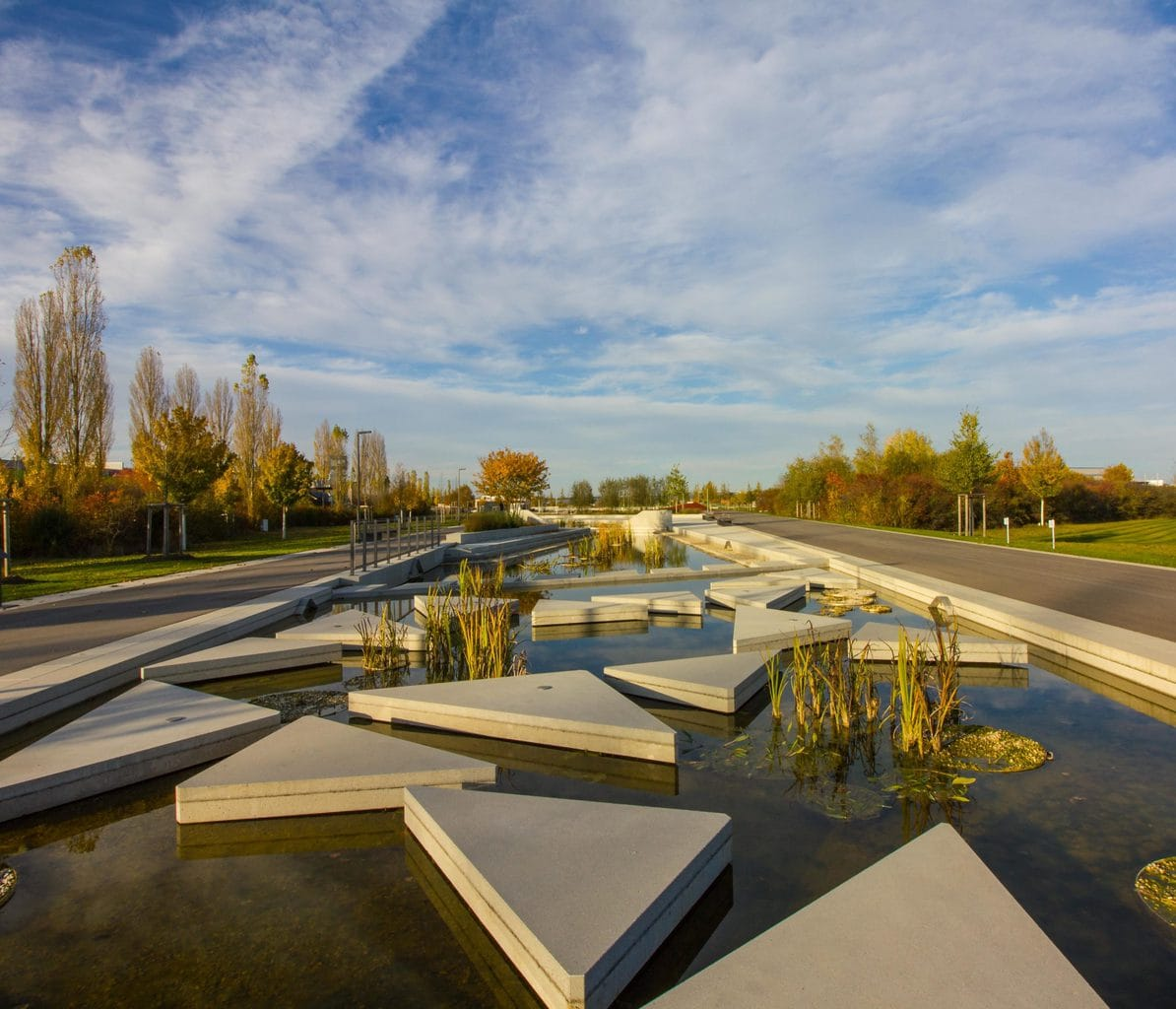 Watertuinen in de tuinwereld van Ingolstadt in Beieren