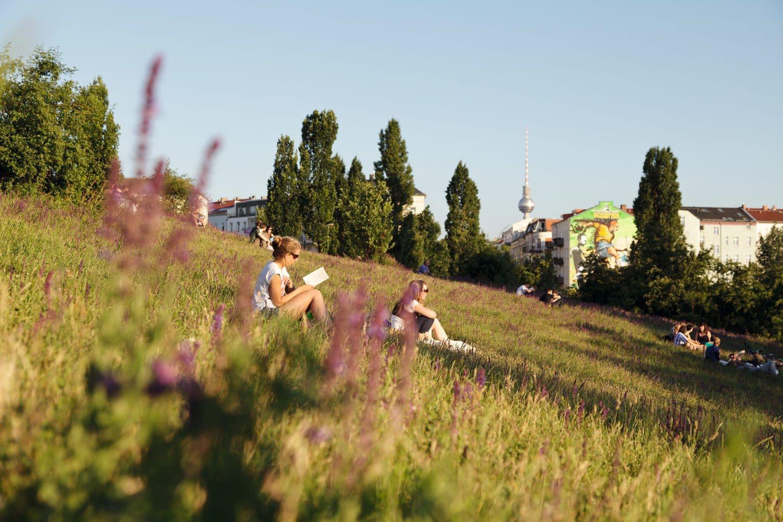 Jonge vrouwen ontspannen in de Mauerpark in Berlijn