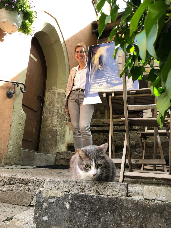 Rondleiding langs de stadsmuur van Rothenburg ob der Tauber met een kat op de voorgrond