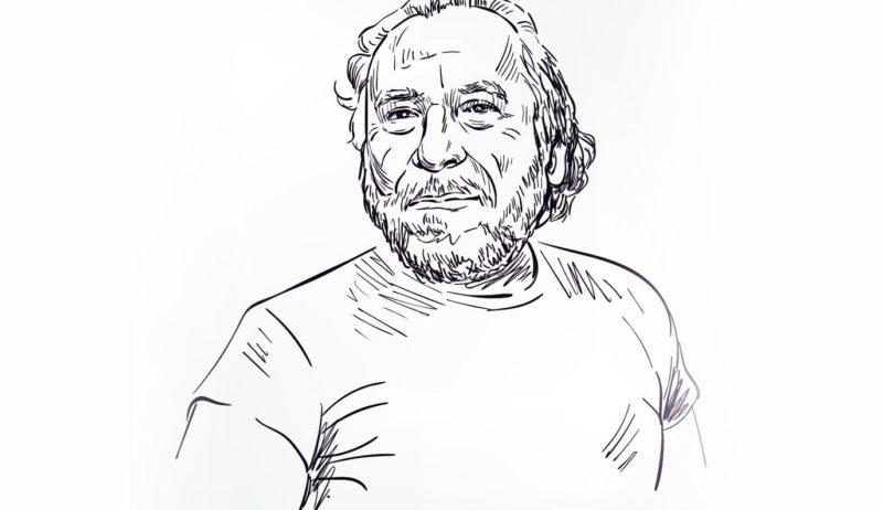 Charles Bukowski is een wereldster uit Rijnland-Palts, dit is een tekening van de schrijver