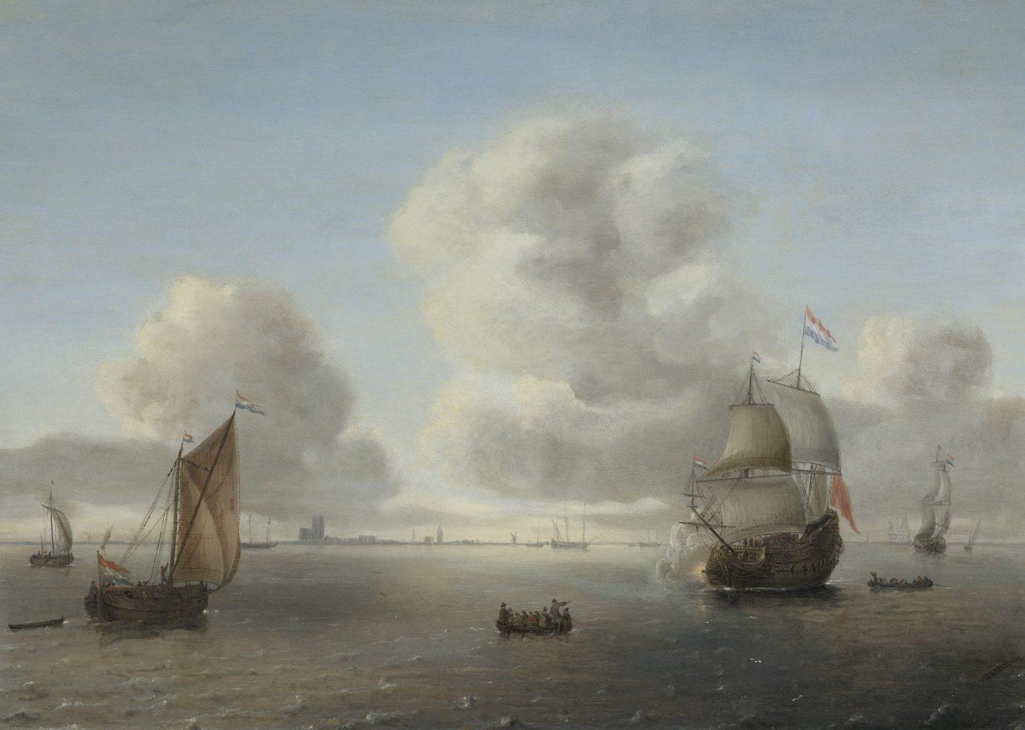 Willem Hermansz. van Diest, Schepen en boten voor de kust bij Dordrecht, 1650er Jahre, olie op eikenhout, prive verzameling, Keulen