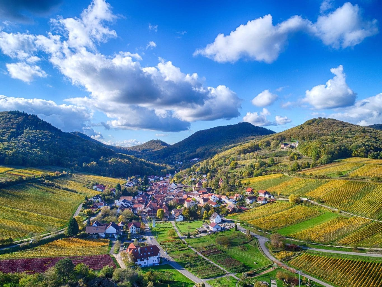 Een dorpje tenmidden van wijngaarden in de Palts