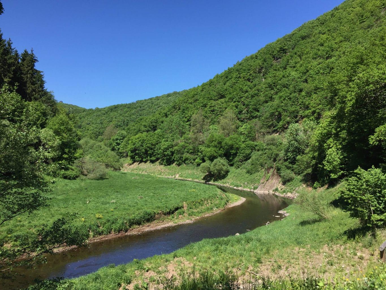 De rivier Urft is vrijwel de hele dag te zien tijdens de grote ronde om de Rursee