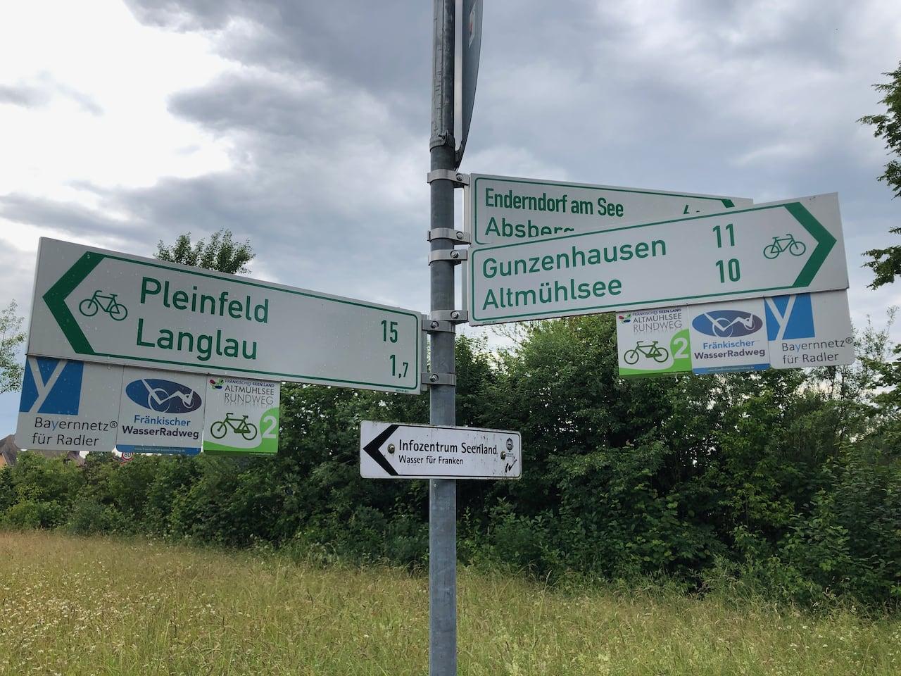 Een aantal verkeersborden wijst fietsers de weg in het Frankse merengebied op het Frankische Waterfietspad