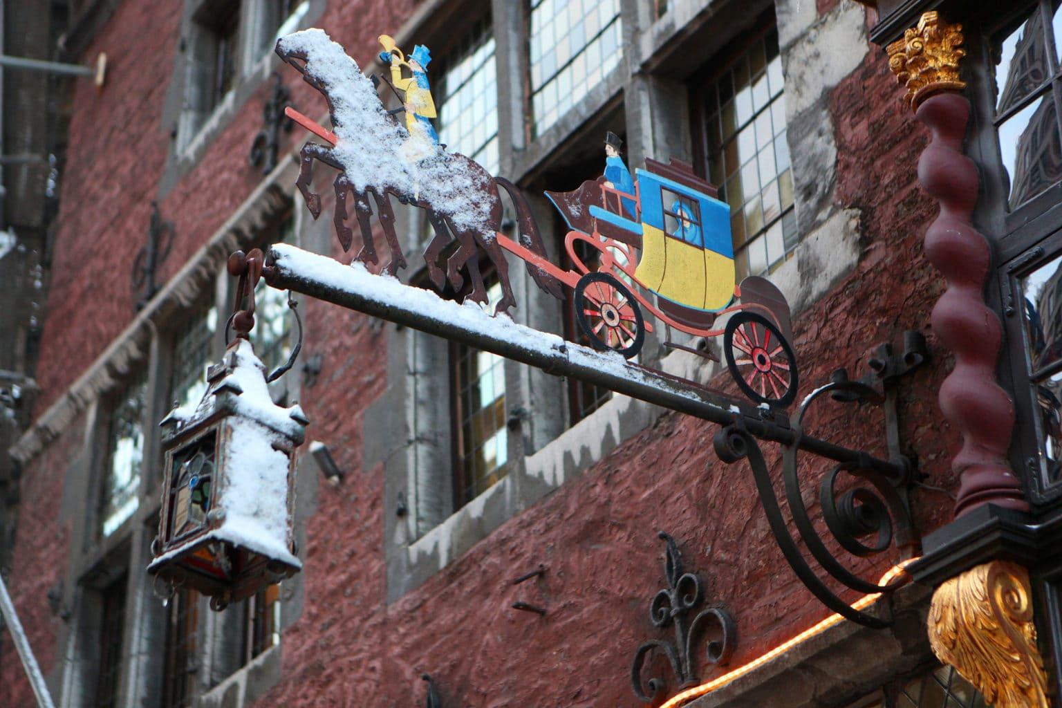 Het oude restaurant Postwagen in Aken van buiten