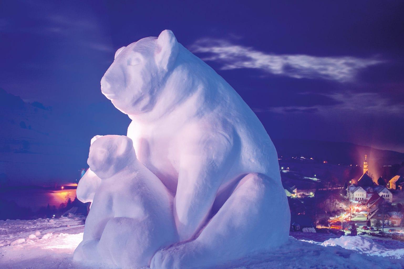 Twee beren van sneeuw genieten van de winter in het Zwarte Woud in Bernau