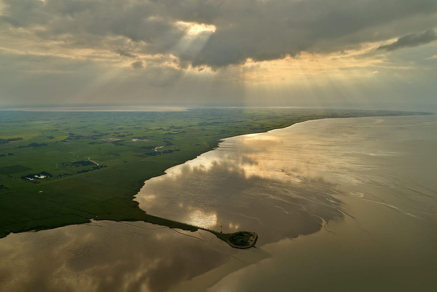 De kust van Butjadingen aan de Duitse Noordzeekust van boven