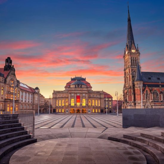 Chemnitz wordt culturele hoofdstad van Europa, hier te zien het theaterplein
