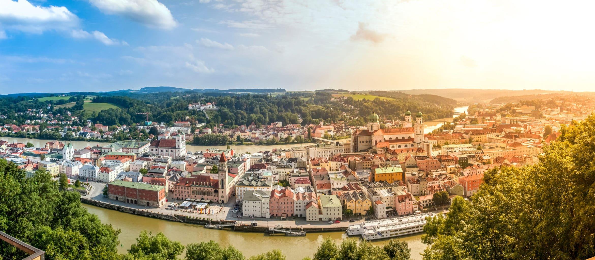Stadsgezicht van Passau luchtopname