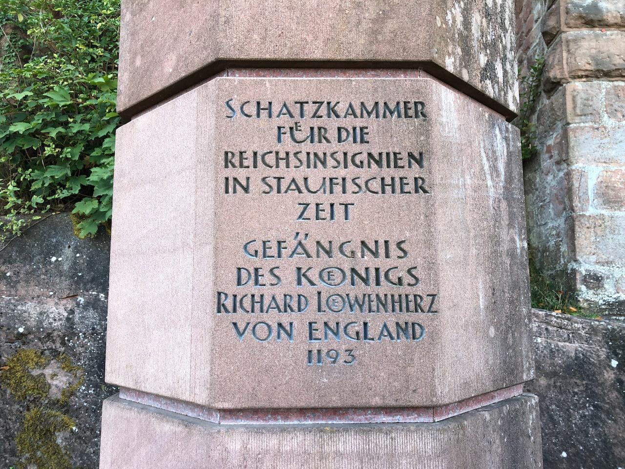 Reichsburg Trifels was ooit een gevangenis waar ondermeer Richard I Leeuwenhart van Engeland ingezeten heeft