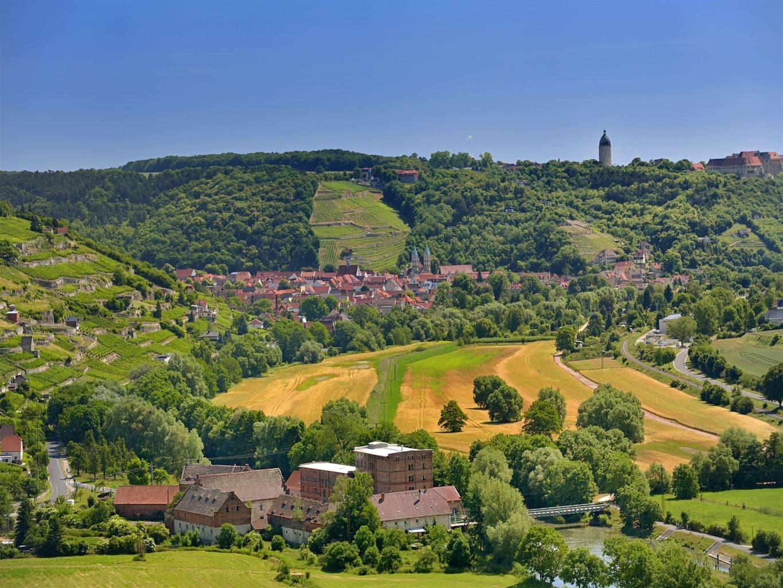 Uitzicht op het wijnstadje Freyburg in de regio Saale-Unstrut