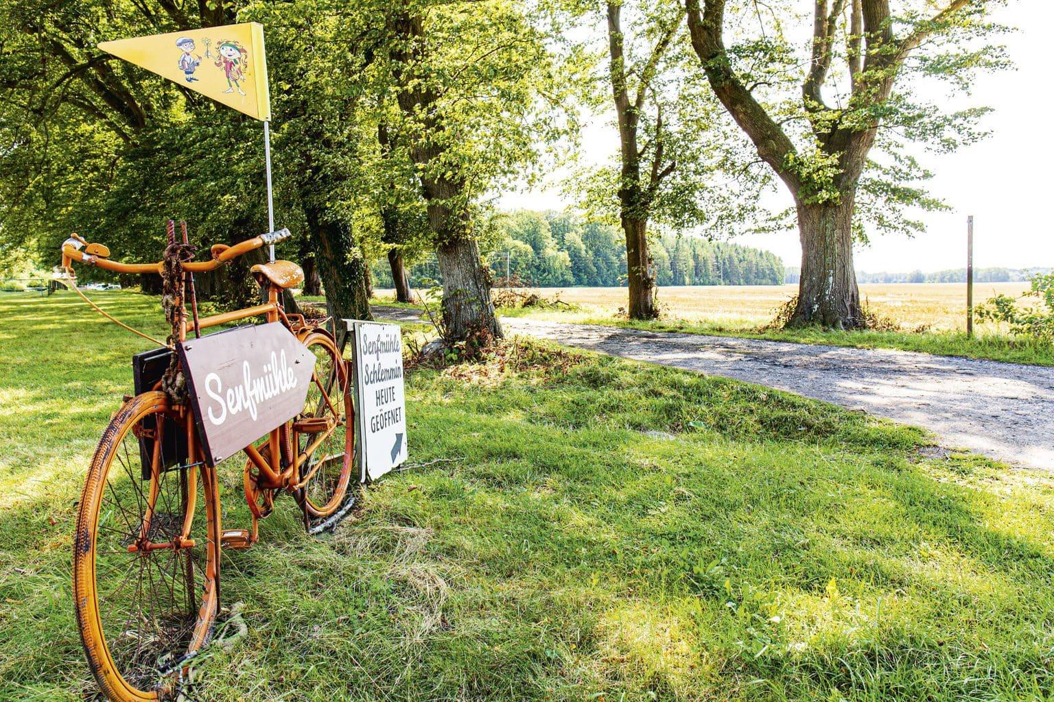 Een fiets wijst op de idyllische reis naar het mosterdparadijs