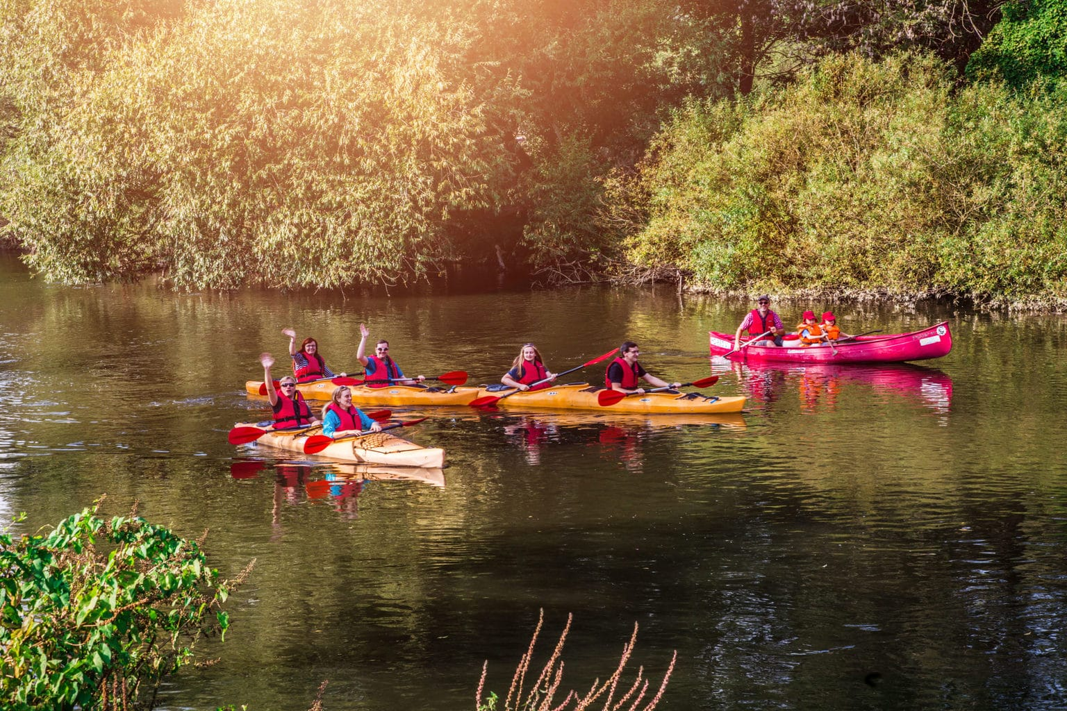 Kanoers op de rivier Unstrut