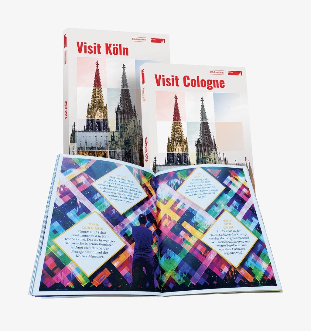 De nieuwe reisgids over Keulen is verkrijgbaar bij Köln Tourismus tegenover de dom