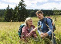 Wandelaars zoeken naar geneeskundige kruiden uit het Thüringer woud