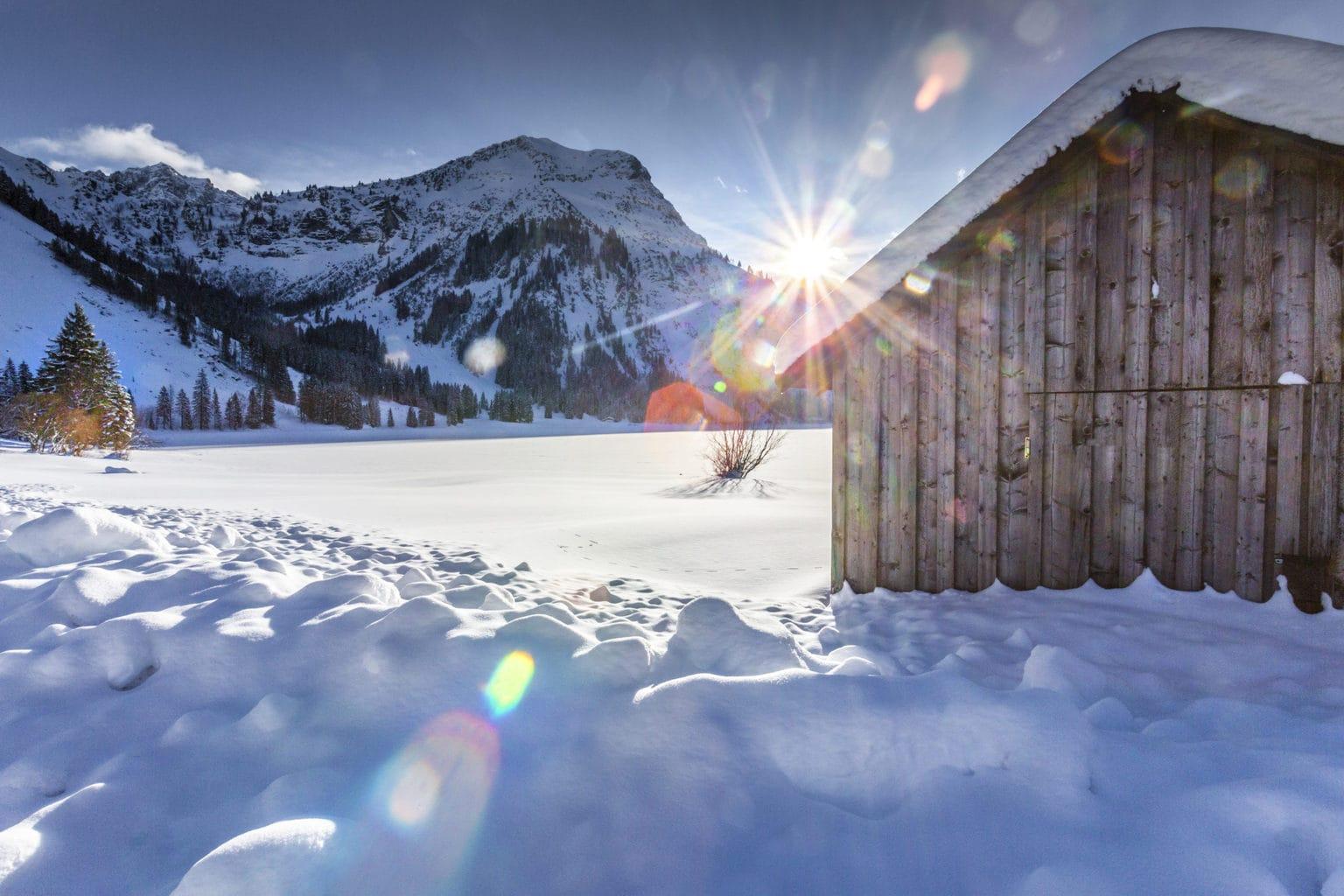 Mooi winterlandschap in het Duitse plaatsje Oberstdorf