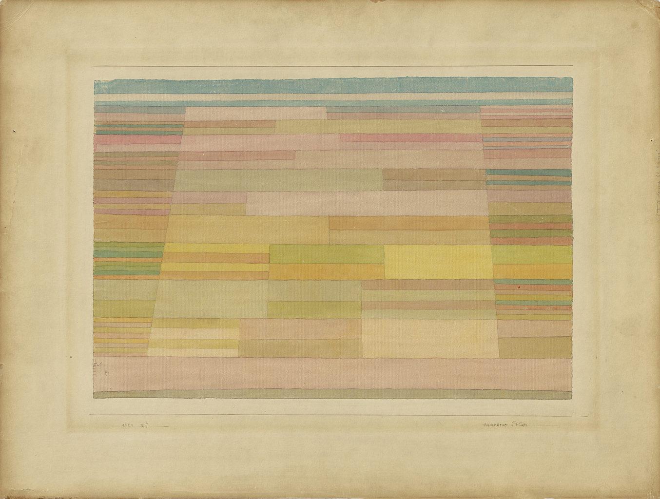 Het schilderij Vermessene Felder van Paul Klee zoals je het kan bekijken in het Museum Berggruen in Berlijn
