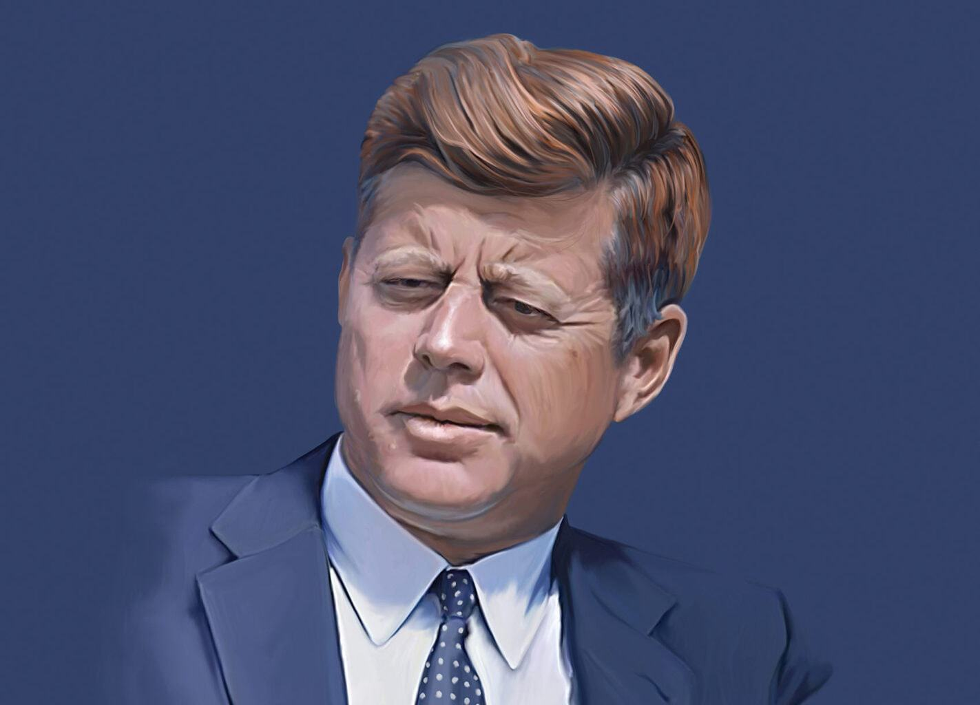 Een portret van de Amerikaanse President John F. Kennedy in Berlijn getekend