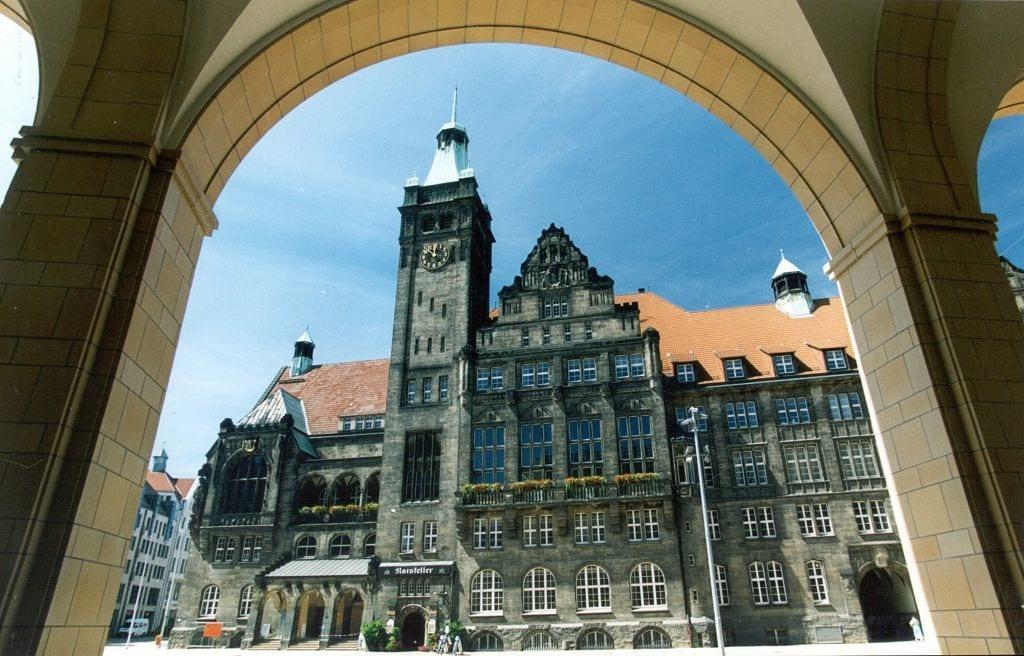 Het Stadhuis van Chemnitz, culturele hoofdstad van Europa 2025