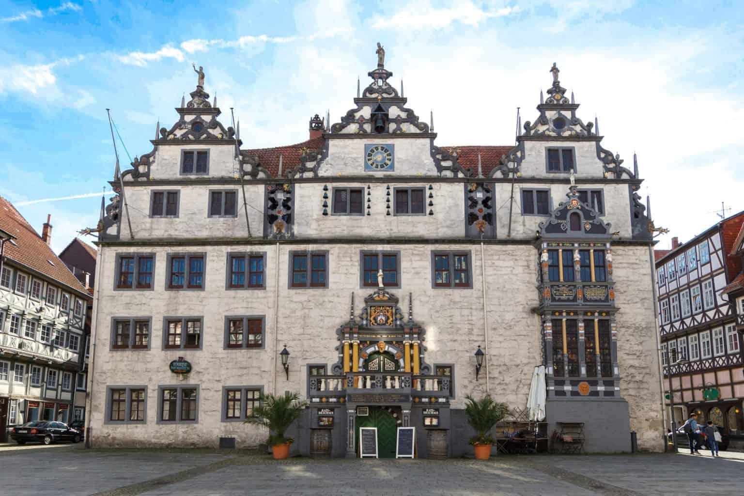 Het renaissance raadhauis van Hann-Münden in Nedersaksen