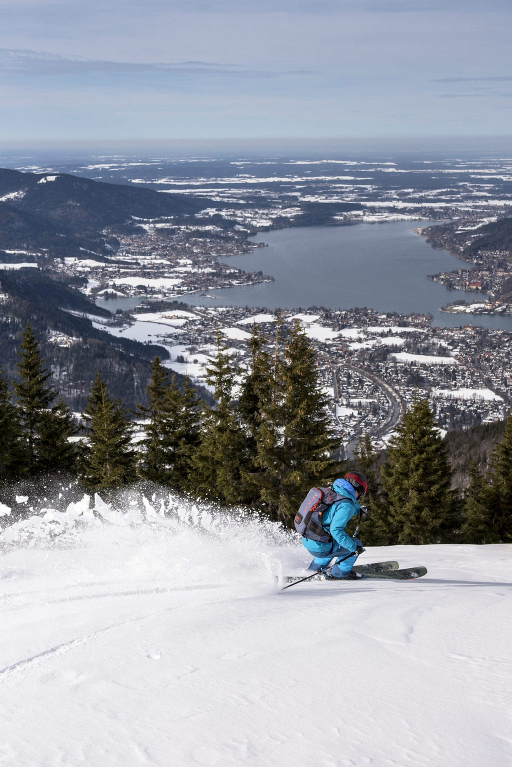 Afdaling in de sneeuw aan de Tegernsee