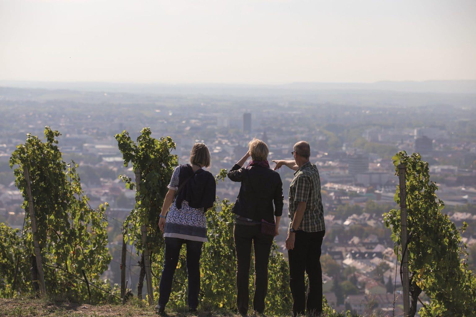 Drei wandelers op een berg tijdens het wandelen in Baden-Württemberg