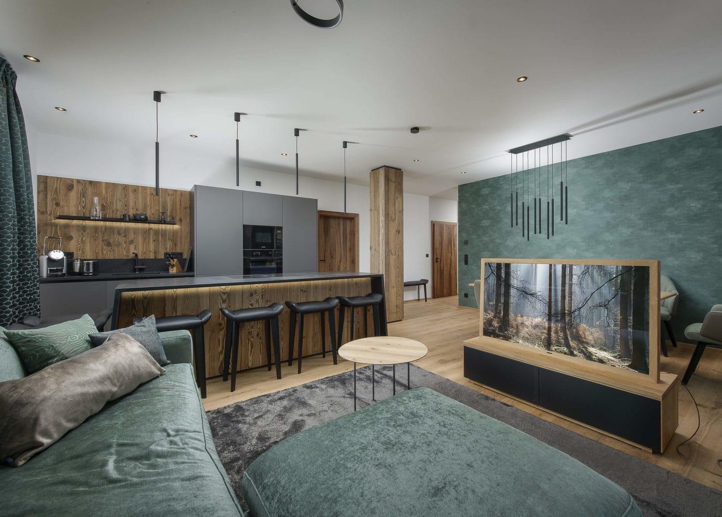 Luxe woonkamer in appartement van R6 vakantiepark