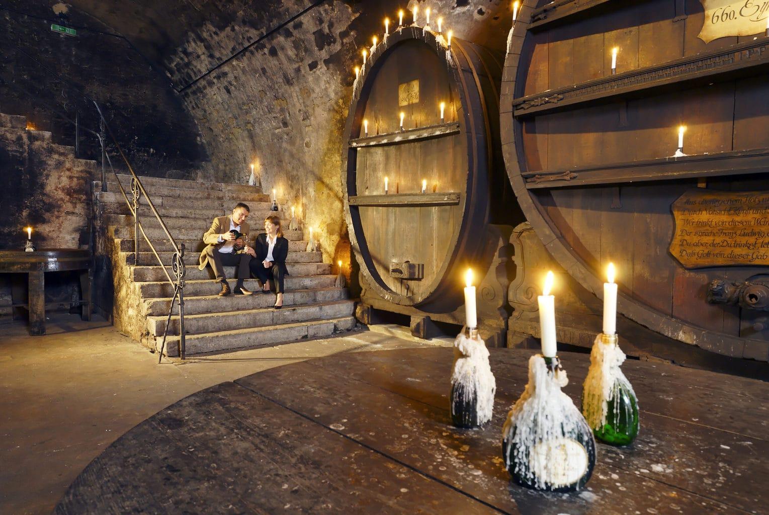 Een wijnkelder in het frankische Würzburg