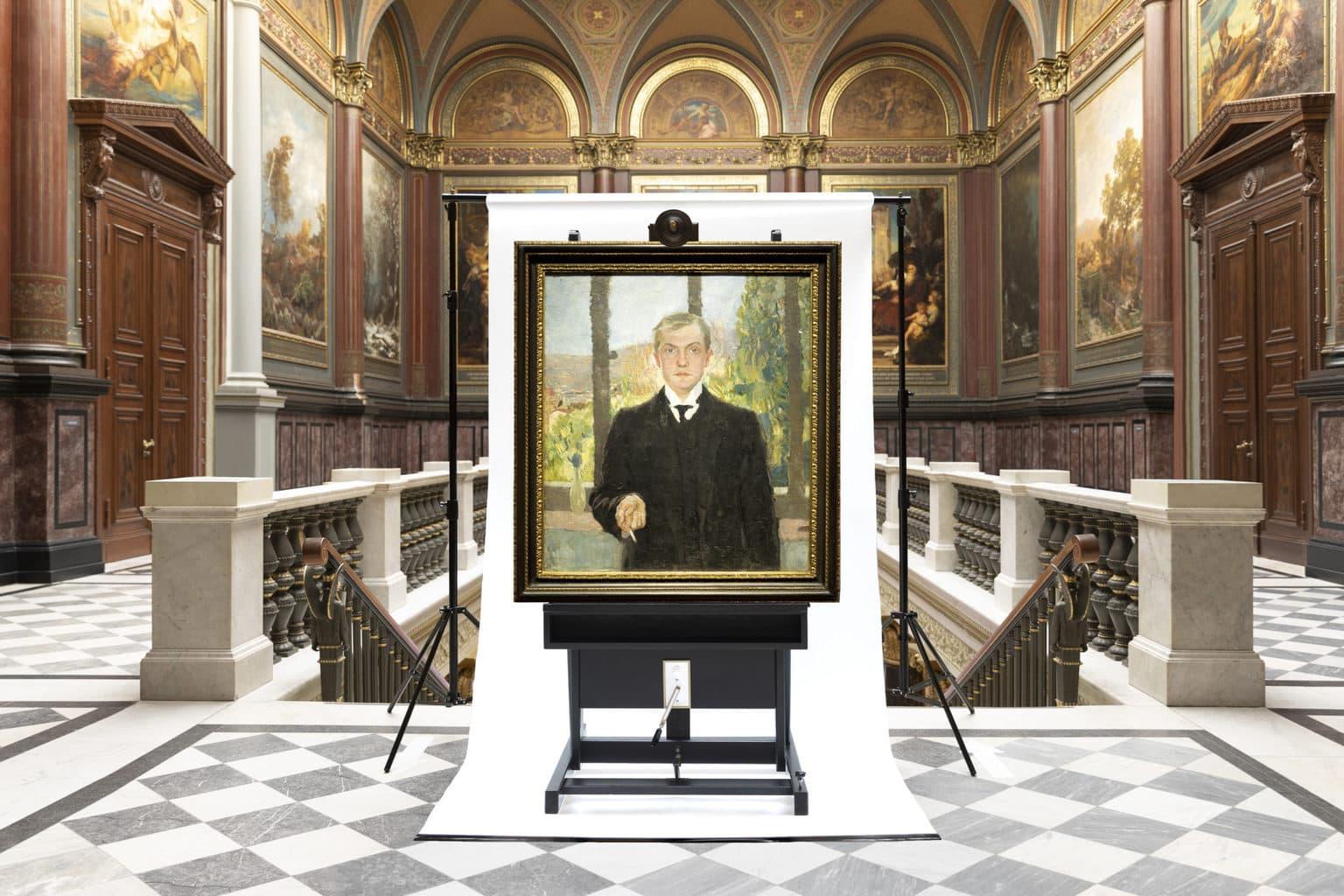 Zelfportret van Max Beckmann in kunsthal Hamburg