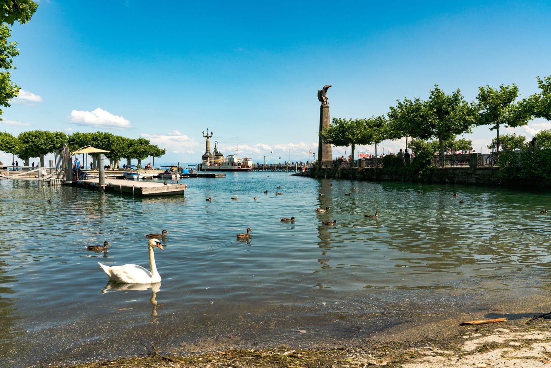 De haven van het stadje Konstanz de Bodensee is al met al een van de mooisten van het land