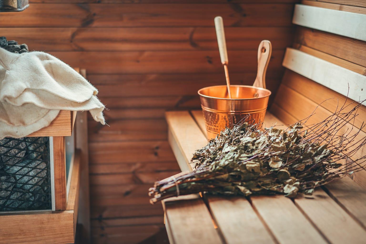 Apparaturen voor een opgieting in een Duitse sauna