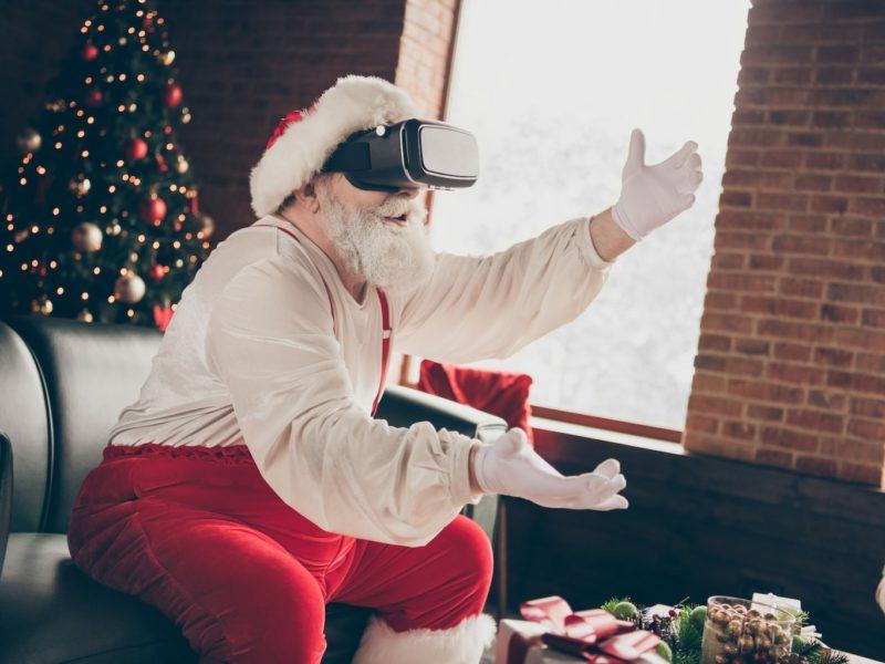 Een sint met een virtuele realiteit bril