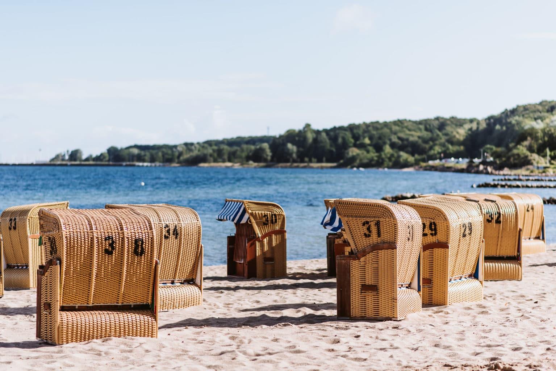 Strandkorven aan de Kieler Förde