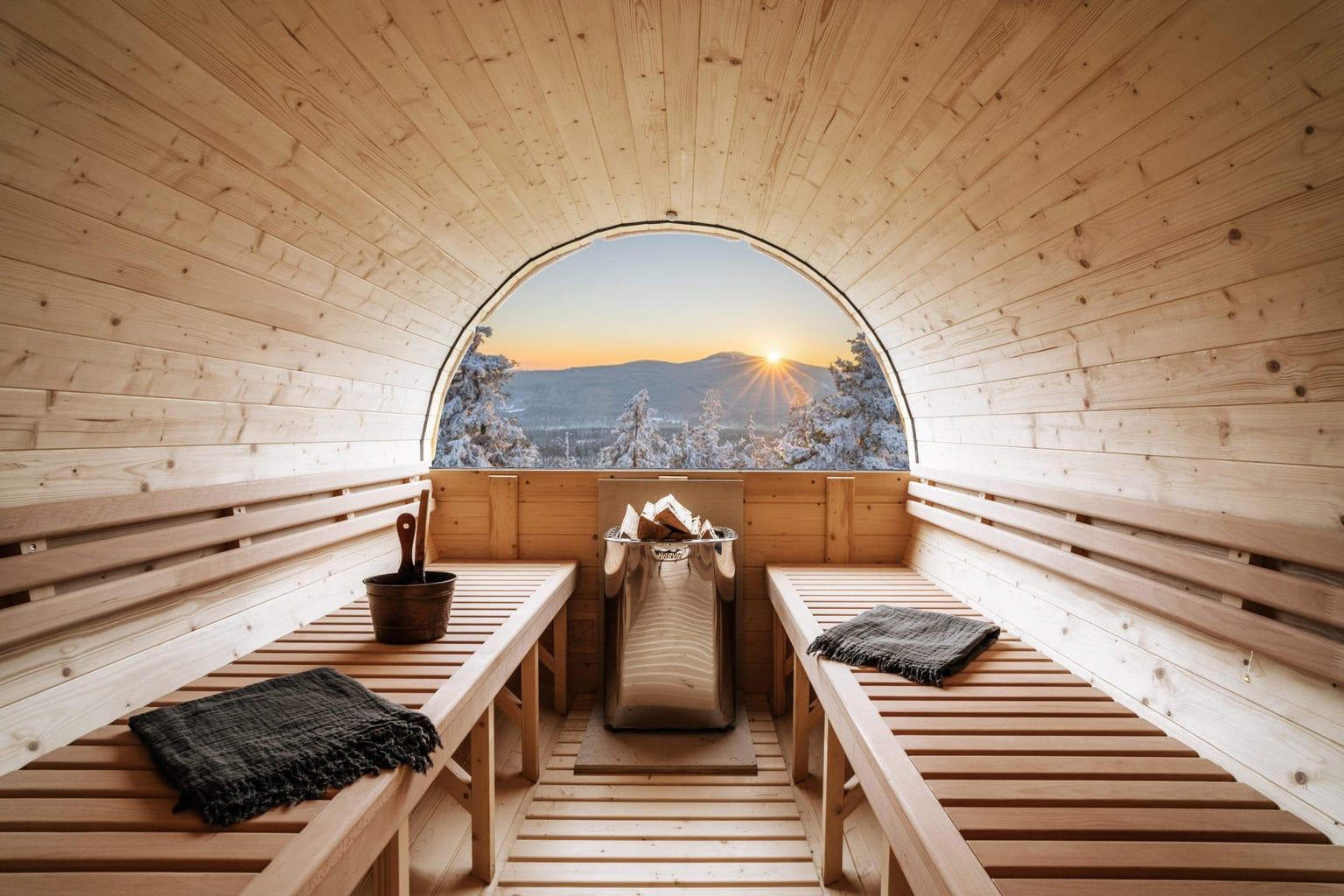 Sauna in een houten vat in Hearts hotel, een boetiekhotel in de Harz