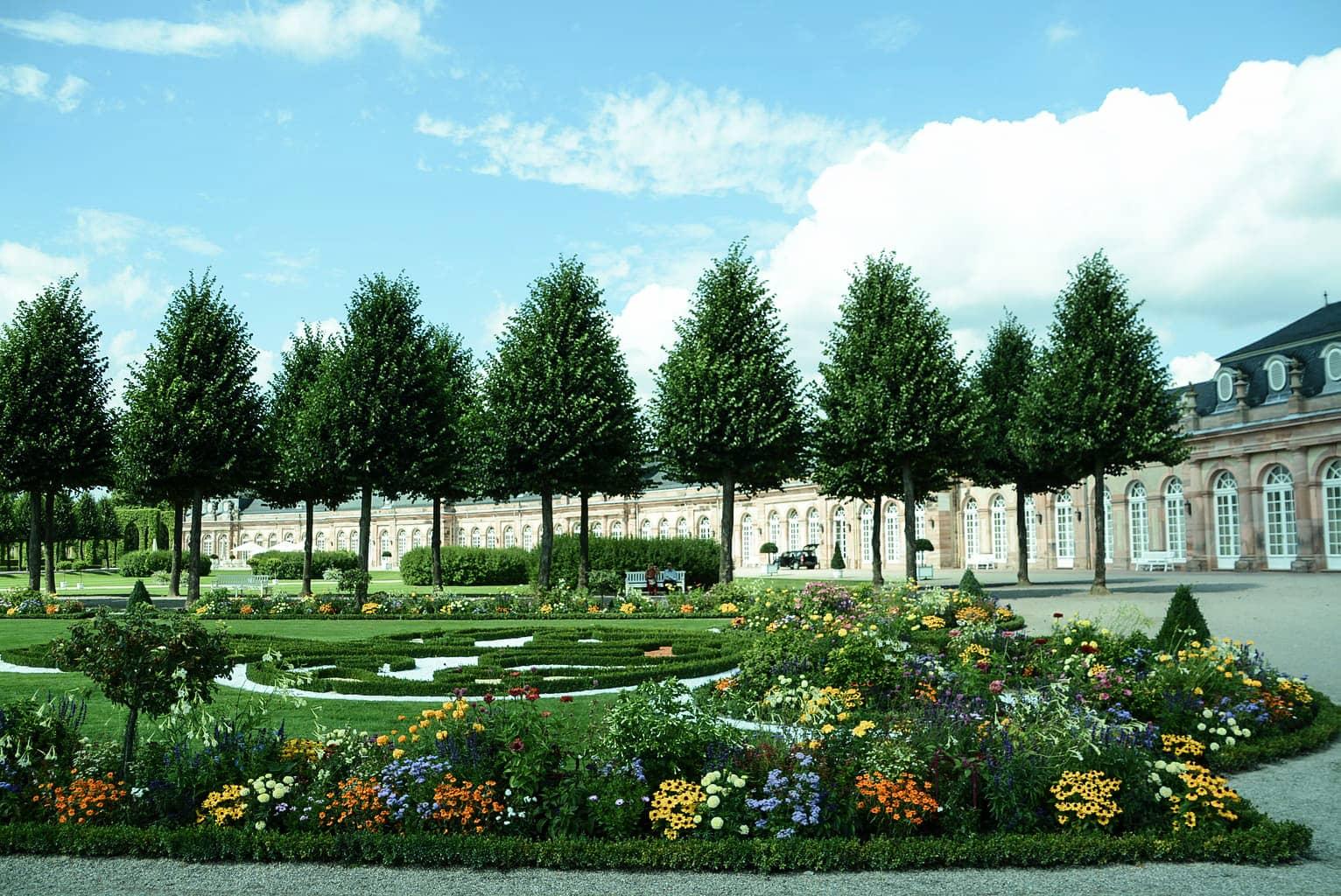 Prachitge bloemen en speelse bomenkolonien in Kasteeltuin Schwetzingen
