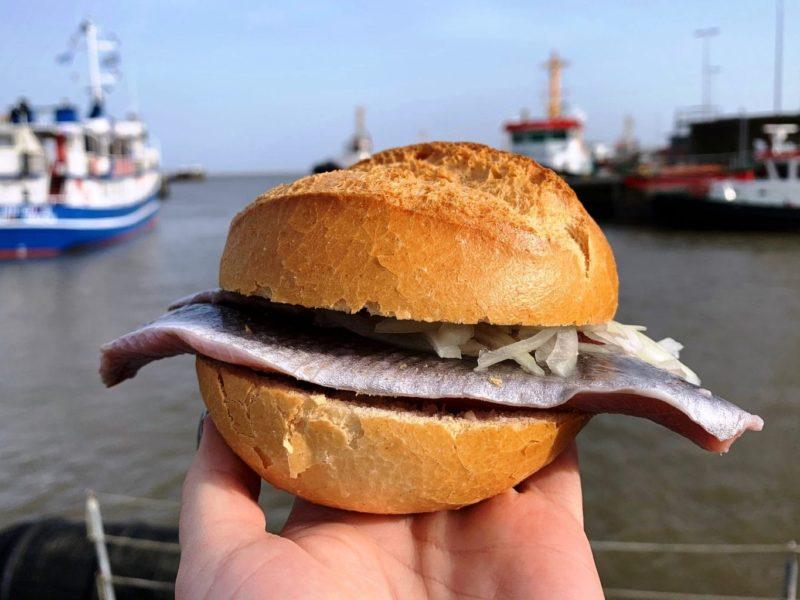 Haringbroodje in de vissershaven